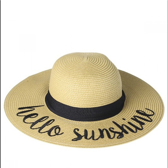 26d213ad609 Hello Sunshine Wide Brim Straw Sun Hat